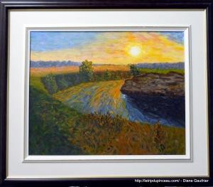 Coucher de soleil sur la rivière. Acrylique 16 x 20 pouces