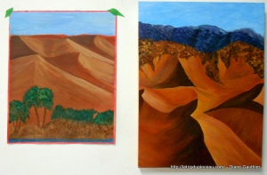 Comparaison d'études de dunes. Acrylique