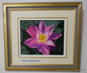 Lotus rose, 8 x 10, Acrylique, sur panneau massonite.