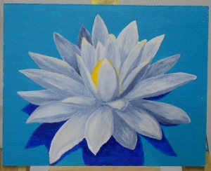 Lotus blanc 8 x 10. Acrylique.
