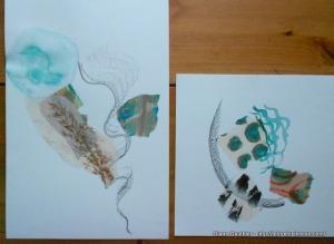 Oeuvre en 5 étapes - encre et collage