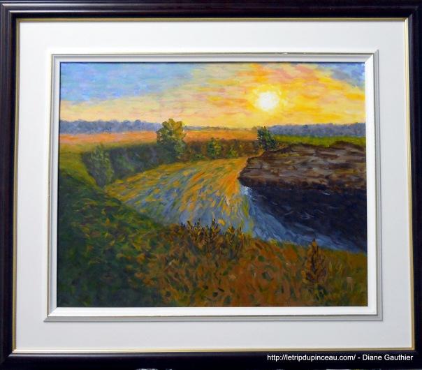 Coucher de soleil sur la rivière, 16 x 20