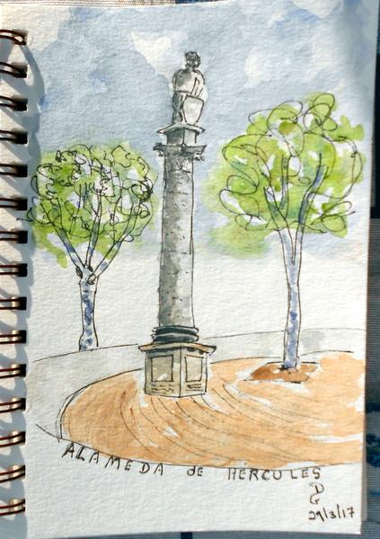 Sketching s ville espagne 2 letripdupinceau - Combien de temps pour qu un coup de soleil parte ...