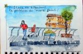 En attendant l'arrivée de la procession à Malaga, le vendeur de citrons