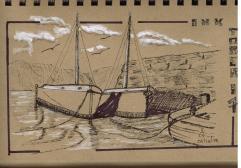 Jour 1 - inspiration du livre How to Paint Boats de Ralph S. Coventry