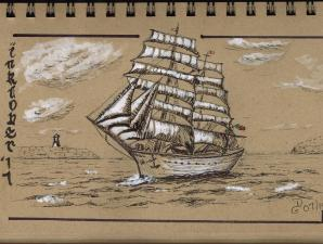 Jour 7 - inspiration du livre How to Paint Boats de Ralph S. Coventry