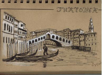 #inktober #inktober2017 Jour 27. Venise. D'après une de mes photos.